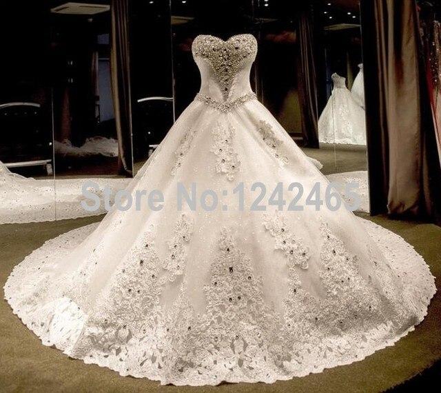 f386687f5139 Puffy Sweetheart Abiti Da Sposa di Lusso Con Diamanti E Cristalli Corte Dei  Treni Foto Reali