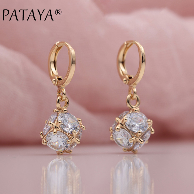 PATAYA New Arrivals Fashion 585 Rose Gold Square Natural Zircon Long Dangle Earrings Women Wedding Party Luxury Fine Jewelry