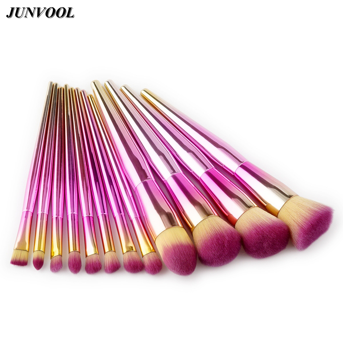 Pink 12Pcs Makeup Brushes Set Power Foundation Blending Contour Blush Eye Brow Shadow Highlighter Make Up Brush Beauty Tools New makeup brushes set power foundation blending eye shadow contour blush face beauty mermaid make up brush tool kit new arrival