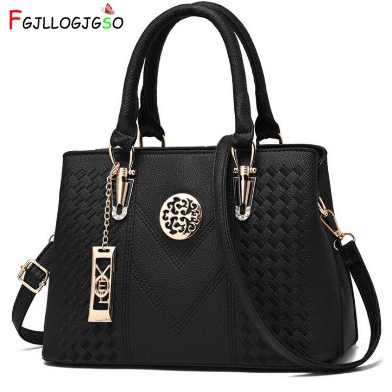 FGJLLOGJGSO Embroidery Messenger Bag Brand Women Handbags Leather Female Crossbody Shoulder Bag Lady Hand Bag Sac Bolsa Feminina