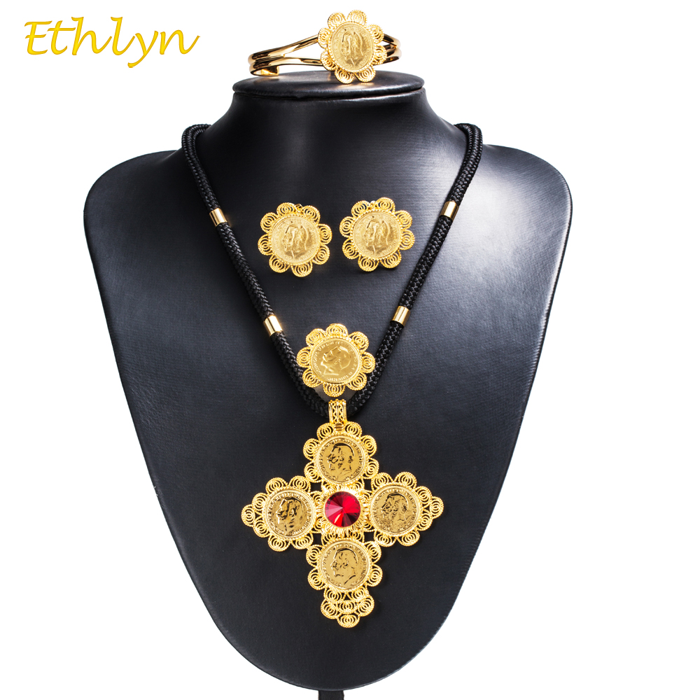 Ethlyn 2017 DIY Black Rope Chain Stone Cross Coins Ethiopian Women Jewelry Sets Gold Color African Bridal Romantic Jewelry S66