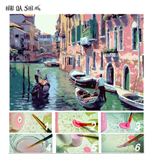 Frame Venice Landscape DIY Painting By Number Home Decoration Hand Painted Modern Oil On Canvas Wall Art Picture