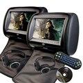 Encosto de Cabeça do carro DVD pillow Jogador Monitor Do Carro Tela Digital Universal zíper FM USB SD CD TV Game conttol Remoto IR dois fone de ouvido