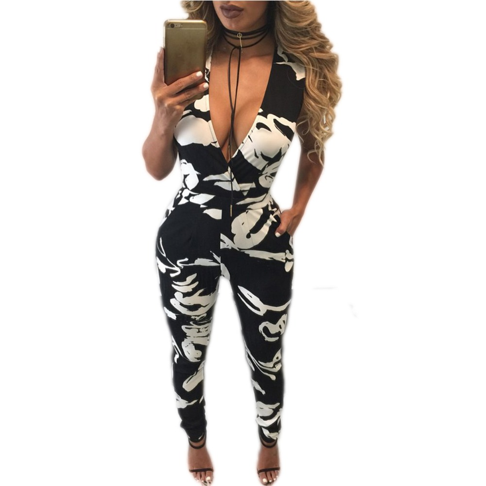 Monos Cortos De Mujer Sexy Women Geometric Print Sleevless Deep V Neck Long Bodycon Jumpsuit Plus