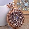 Relógio Flor Pingente & Colar Cristal Resina Jóias turco Antigo Banhado A Ouro Relógio de Bolso Camisola Pingente Colares Bijoux