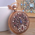 Turkish Jewelry Flower Watch Pendant & Necklace Crystal Resin Antique Gold Plated Pocket Watch Sweater Pendant Necklaces Bijoux