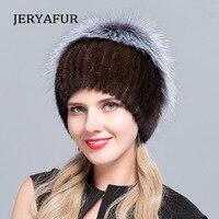 JERYAFUR Knitted Inner Bile Fur HAT Mink Fur Fashion Fur Hat Silver Fox Fur Ball Knitted Cover Hat Winter Women's Travel Ski Hat