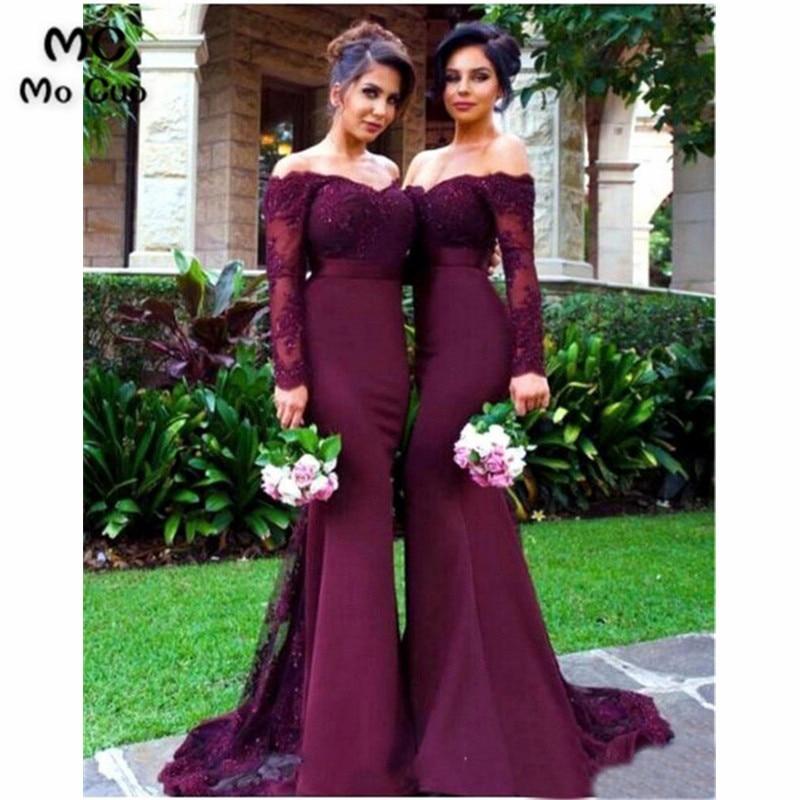 Long Sleeve 2019 Burgundy   bridesmaid     dresses   Wedding party   Dress   vestido de Appliques Lace Beaded Off Shoulder   Bridesmaid     dress