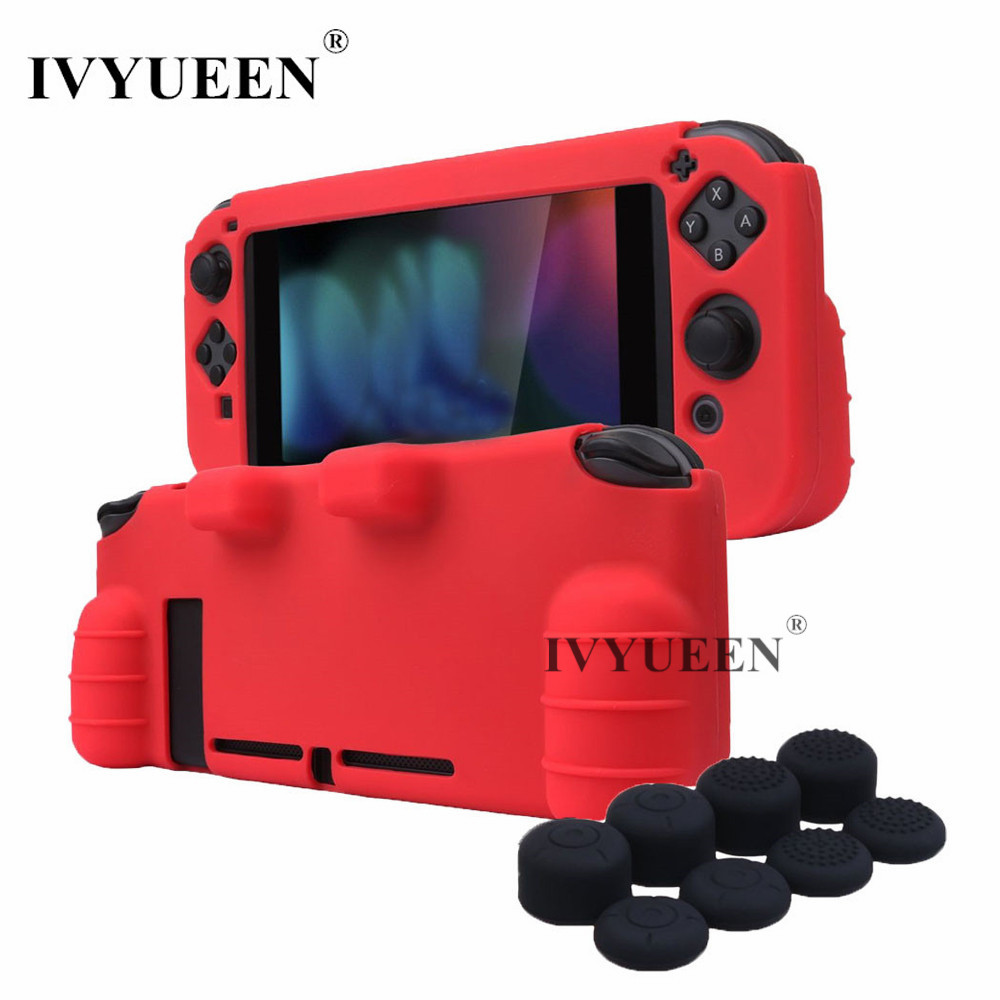 IVYUEEN for Nintend Switch Hand Grip Silicone Cover Skin Case with 8 Analog Thumb Grips Protector for Joy-Con Stick Caps ivyueen 2 pcs for joy con silicone joystick thumb stick grip cover case analog caps for nintend switch ns joy con controller