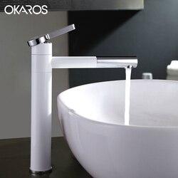 OKAROS Weiß Wasserhahn Painted Bad Becken Wasserhahn Steigerung 360 Auslauf  Swivel Schiff Sinken Toilette Wasser Mischbatterie Torneira