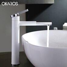 OKAROS White Faucet Bathroom Basin Faucet Heightening 360 Spout Swivel Vessel Sink Lavatory Water Mixer Tap Torneira M001