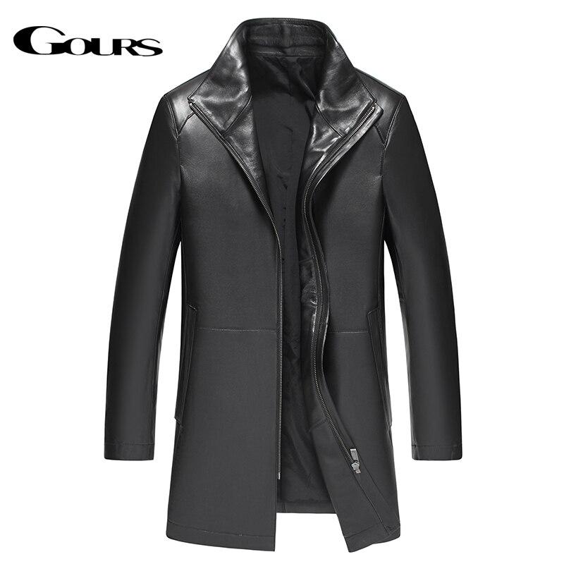 Gours Hiver Véritable Veste En Cuir pour Hommes Marque De Mode En Cuir Noir en peau de Mouton Long Vestes et Manteaux Chaud Nouvelle Arrivée 4XL