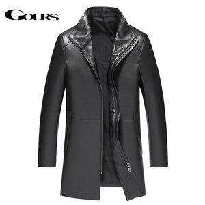 Image 1 - Gours Winter Echtem Leder Jacke für Männer Mode Marke Leder Schwarz Schaffell Lange Jacken und Mäntel Warme Neue Ankunft 4XL