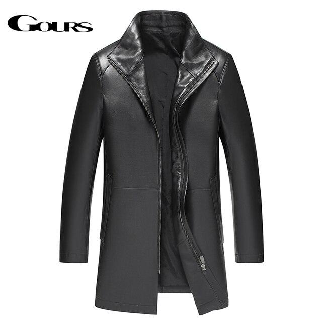 Gours Winter Echtem Leder Jacke für Männer Mode Marke Leder Schwarz Schaffell Lange Jacken und Mäntel Warme Neue Ankunft 4XL