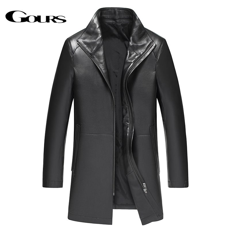 Gours Winter Genuine Leather Jacket for Men Fashion Brand Leather Black Sheepskin Long Jackets and Coats Warm New Arrival 4XL