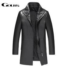 Gours inverno jaqueta de couro genuíno para homens marca moda couro preto pele carneiro jaquetas e casacos quentes nova chegada 4xl