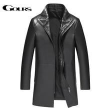 Gours zimowa kurtka z prawdziwej skóry dla mężczyzn moda marka skóra czarna kożuch długie kurtki i płaszcze ciepły nowy nabytek 4XL