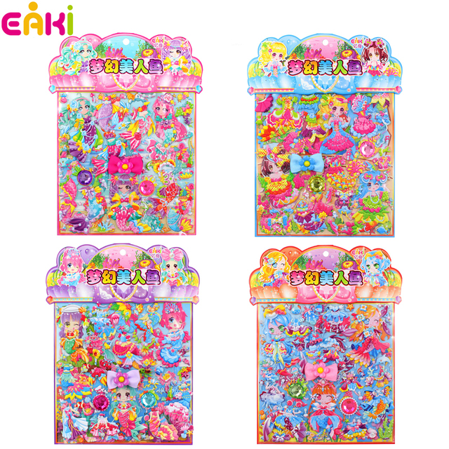 Eaki 8 style random send cartoon mermaid dress up pvc diy double layer bubble puffy sticker