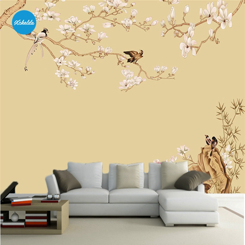 XCHELDA 3D Mural Wallpapers Custom Painting Flowers Birds Yellow Background Bedroom Living Room Wall Murals Papel De Parede custom 3d wall murals wallpaper luxury silk diamond home decoration wall art mural painting living room bedroom papel de parede