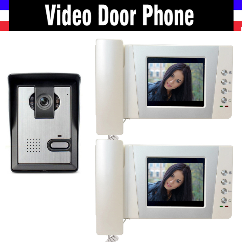 4.3 LCD monitor video door phone system video doorbell interphone kits IR Night Vision Camera video intercom for home 2-Screen 7inch video door phone intercom system for 5apartment tft lcd screen 5 flat indoor monitor with night vision cmos outdoor camera