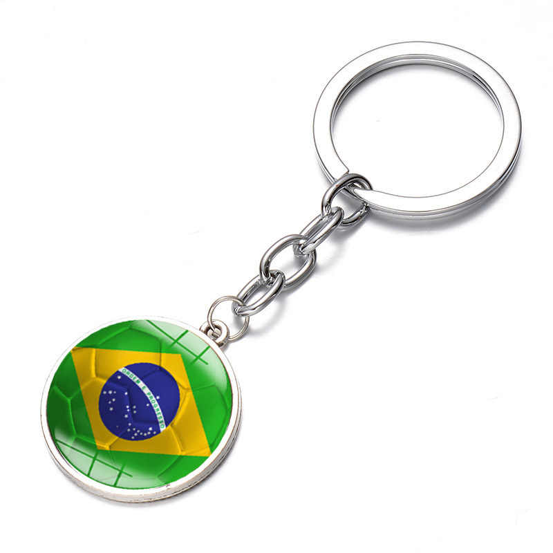 30711381021 ... SONGDA New World Flag Football Keychain National Brazil Croatia Flag  Key Chain Handmade Round Photo Glass ...