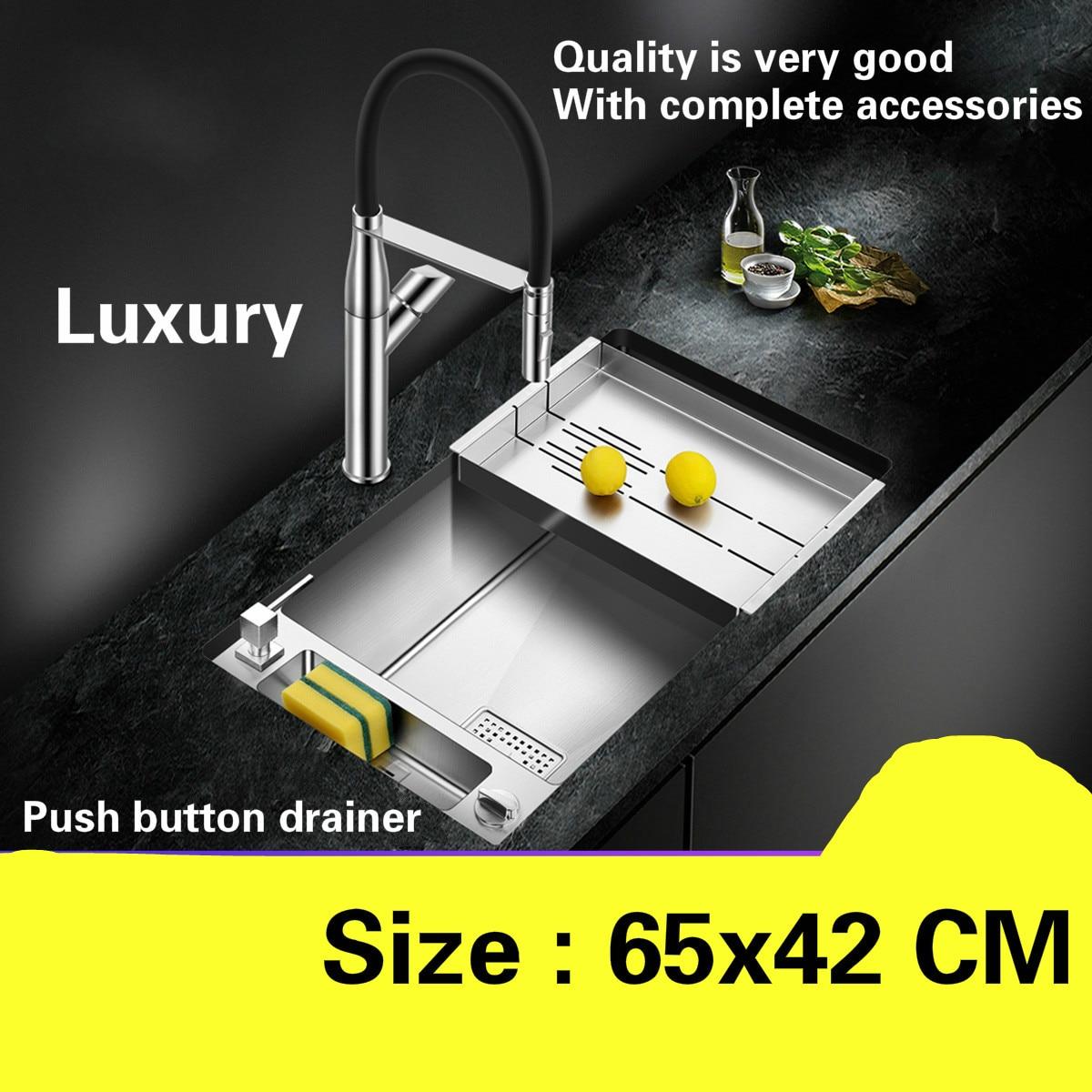 Livraison gratuite Ménage de luxe mode mini cuisine manuel évier creux unique plat 304 en acier inoxydable vente chaude 650x420 MM