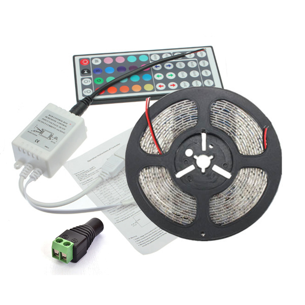 Led Strip Light 12v 5m 300 Leds Smd 5050 Diode Tape Flexible Wire Switch With Female And Male Dc Power Lights 5a Adapter Supply Rf Remote Controller