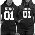 Fashion Couple Matching Hoodies King Queen Printed Black Funny Sweatshirts Crewneck Pullover S-XL