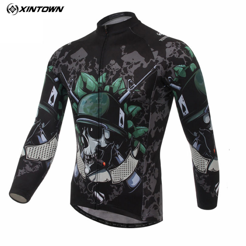 XINTOWN Mens Team Skeleton Soldier Long Sleeve T-shirt Shirt Bike Bicycle Riding Top Cycling Jersey