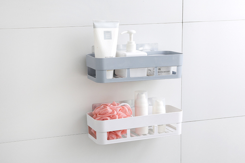 1PC Plastic Bathroom Shelf Storage Rack Corner Shower Shelf Kitchen Wall Hanging Bathroom Storage Rack Holder 26*10*6cm