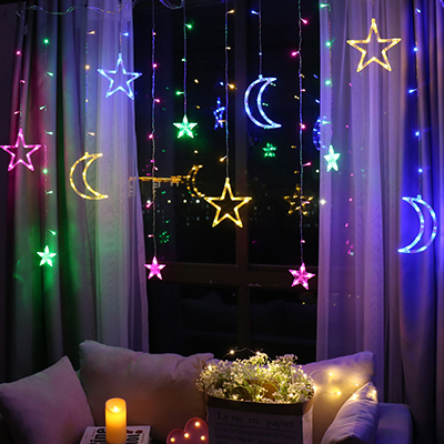 Светодиодный светильник с Лунной звездой, Рождественский светильник, s украшение, праздничный светильник, s занавес, лампа, Свадебный неоновый фонарь, 220 В, сказочный светильник - Испускаемый цвет: moon star colorful