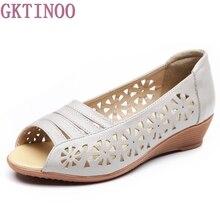 새로운 2019 여성 플랫 편안한 정품 가죽 신발 부드러운 여성 플랫 샌들 오픈 발가락 여성 여름 신발