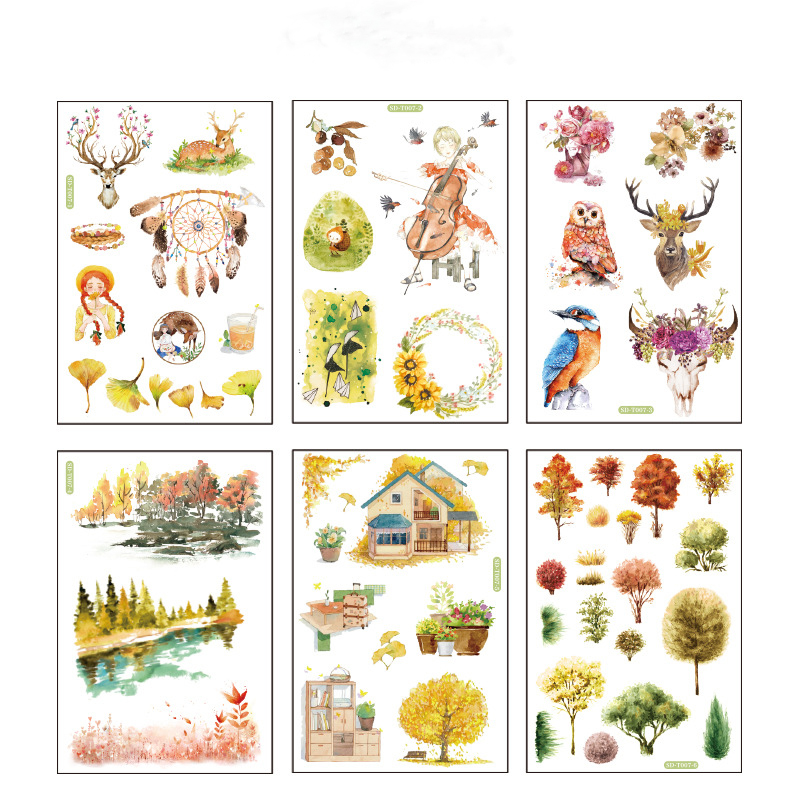 6 Pcs/pack Leave Deer Tree Bullet Journal Decorative Stationery Stickers Scrapbooking DIY Diary Album Stick