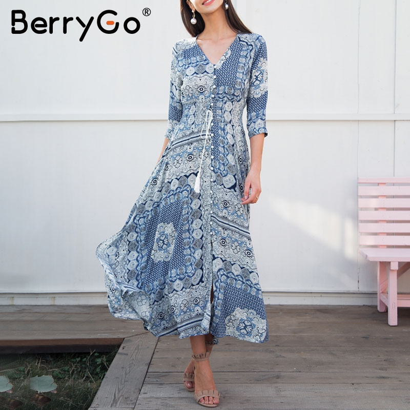 BerryGo Tassel tie up print summer dress long Half sleeve causal women dress maxi 2018 Spring button vestidos boho dress female