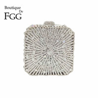 Boutique De FGG Dazzling Crystal Women Evening Box Clutch Bag Wedding Bridal Minaudiere Handbags and Purses Ladies Party Clutch