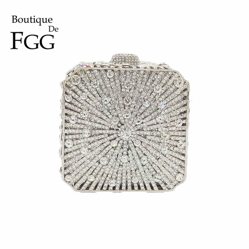 Square Box Hollow Out Women Silver Crystal Evening Mini Clutch Bag Ladies Wedding Party Handbags and Purses Bridal Minaudiere gift box hollow out floral evening day clutches party wedding vintage rhinestone evening pink crystal clutch bag women handbags