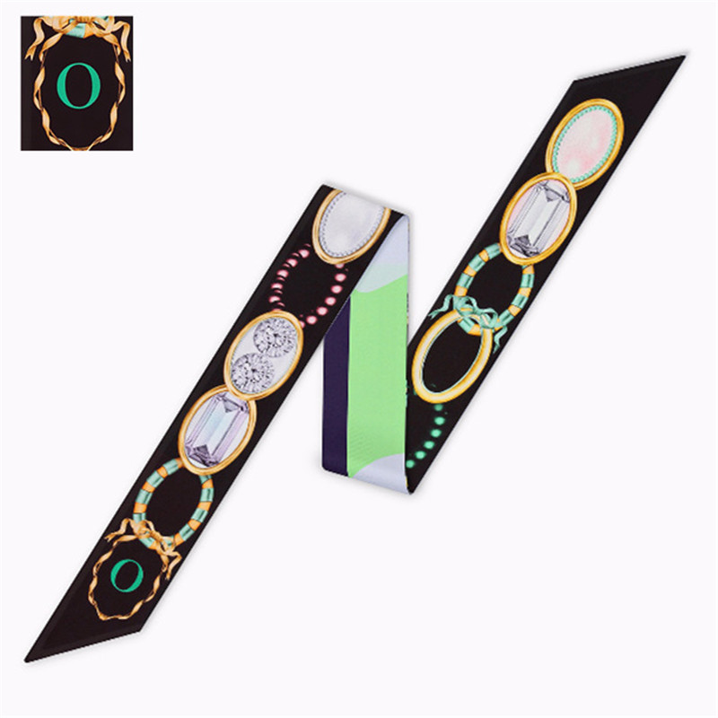 O Letter 2020 New Women Silk Scarf Fashin Head Scarfs For Ladies Luxury Brand Scarf Small Tie Hot Sale Bag Ribbons Scarves Women