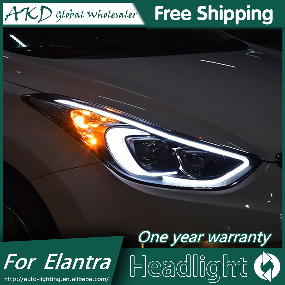 AKD Car Styling for 2012-2016 Hyundai Elantra Headlights  MD LED Headlight DRL Q5 Bi Xenon Lens High Low Beam Parking Fog Lamp akd car styling for nissan teana led headlights 2008 2012 altima led headlight led drl bi xenon lens high low beam parking