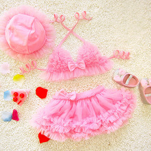 1-8T 3pcs/Set Two-Piece Children Swimwear 2017 New Baby Girls Bikini Cute Princess Swimsuit Preschool Newborn Kids Swimsuit 1701