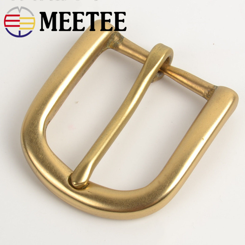 Meetee 30mm Width Pure Brass Belt Buckle for Men Ladies Belt Pin Buckle Head DIY Leather Craft Jean Clothing Accessories