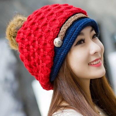 2018 New Fashion Woman's Warm Woolen Winter Hats Knitted Fur Cap For Woman Snapback Cap Lady Female Brim stripe Skullies Hats