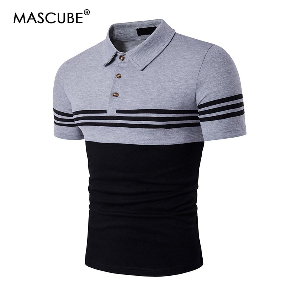 Mascube New Summer Cotton Men Polo Shirt Brands Stripe Short Sleeve