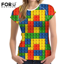 цены на FORUDESIGNS T-shirt Women T Shirts O-Neck Short-Sleeve Casual t-shirts Female Stylish Women's Clothing Puzzle Box Print Colorful  в интернет-магазинах
