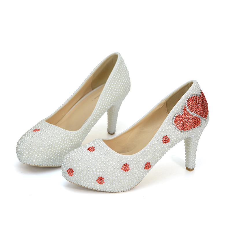 Lover Heart Shape Red Rhinestone White Pearl Wedding Shoes Sapatas do  casamento Spring Women Pumps Custom Made Bridal Dress Shoe-in Women s Pumps  from Shoes ... b8005c91ea8f