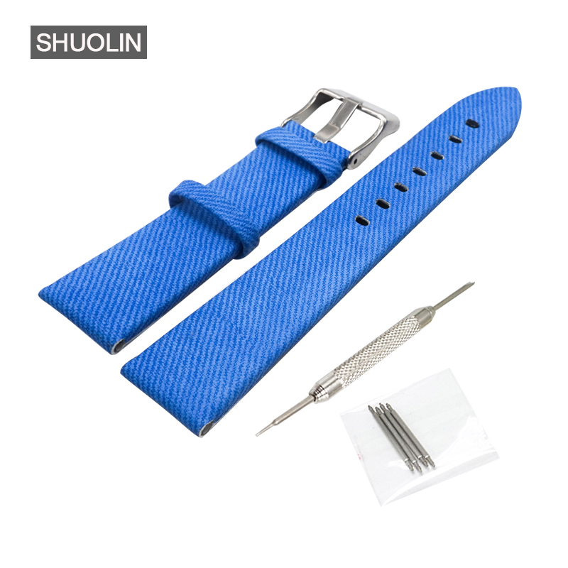Fashion men Watch strap watchband 20mm watch band 20MM 2017 new Blue denim straps 20 watchbands for women Wristwatch SH010-B new matte red gray blue leather watchband 22mm 24mm 26mm retro strap handmade men s watch straps for panerai