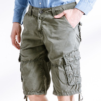 Top Selling Fashion Men Cargo Shorts Straight Muti Pockets Cotton Loose Style Camo Combat Overalls 2