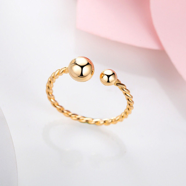S925 Silver Light Gold Lovely Big Small Ball Braided Hair Adjustable Opening Ring For Women Jewelry