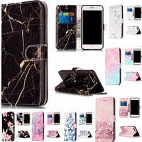 Wallet Leather Case For iphone 7 Plus Flip Case Colorful Marble Pattern Cover for iphone 7 Plus Case With Card Slot