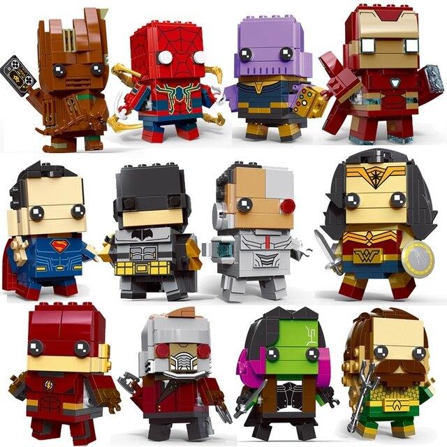 Brickheadz Decool Super-heróis Superman Batman IronMan Marvel Super Heroes Figuras Building Block Bricks legoING DC vingadores Brinquedos