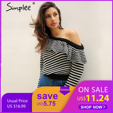Simplee Striped knitted pullover sweater women One shoulder ruffle long sleeve jumper Casual autumn winter knitting pull femme(China)